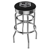 L7C3C - Chrome Double Ring Los Angeles Kings Swivel Bar Stool with 2.5 Ribbed Accent Ring by Holland Bar Stool Company