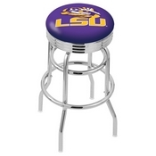 L7C3C - Chrome Double Ring Louisiana State Swivel Bar Stool with 2.5 Ribbed Accent Ring by Holland Bar Stool Company