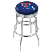 L7C3C - Chrome Double Ring Louisiana Tech Swivel Bar Stool with 2.5 Ribbed Accent Ring by Holland Bar Stool Company