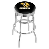 L7C3C - Chrome Double Ring Missouri Western State Swivel Bar Stool with 2.5 Ribbed Accent Ring by Holland Bar Stool Company