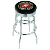 L7C3C - Chrome Double Ring U.S. Marines Swivel Bar Stool with 2.5 Ribbed Accent Ring by Holland Bar Stool Company