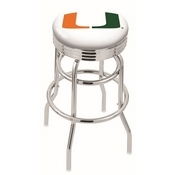 L7C3C - Chrome Double Ring Miami (FL) Swivel Bar Stool with 2.5 Ribbed Accent Ring by Holland Bar Stool Company
