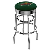 L7C3C - Chrome Double Ring Minnesota Wild Swivel Bar Stool with 2.5 Ribbed Accent Ring by Holland Bar Stool Company