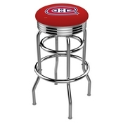 L7C3C - Chrome Double Ring Montreal Canadiens Swivel Bar Stool with 2.5 Ribbed Accent Ring by Holland Bar Stool Company