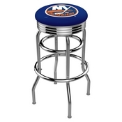 L7C3C - Chrome Double Ring New York Islanders Swivel Bar Stool with 2.5 Ribbed Accent Ring by Holland Bar Stool Company
