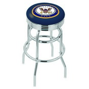 L7C3C - Chrome Double Ring U.S. Navy Swivel Bar Stool with 2.5 Ribbed Accent Ring by Holland Bar Stool Company