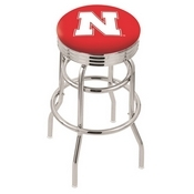 L7C3C - Chrome Double Ring Nebraska Swivel Bar Stool with 2.5 Ribbed Accent Ring by Holland Bar Stool Company