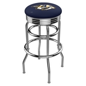 L7C3C - Chrome Double Ring Nashville Predators Swivel Bar Stool with 2.5 Ribbed Accent Ring by Holland Bar Stool Company
