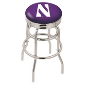 L7C3C - Chrome Double Ring Northwestern Swivel Bar Stool with 2.5 Ribbed Accent Ring by Holland Bar Stool Company