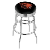 L7C3C - Chrome Double Ring Oregon State Swivel Bar Stool with 2.5 Ribbed Accent Ring by Holland Bar Stool Company