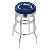 L7C3C - Chrome Double Ring Penn State Swivel Bar Stool with 2.5 Ribbed Accent Ring by Holland Bar Stool Company