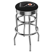 L7C3C - Chrome Double Ring Philadelphia Flyers Swivel Bar Stool with 2.5 Ribbed Accent Ring by Holland Bar Stool Company