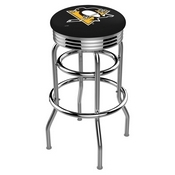 L7C3C - Chrome Double Ring Pittsburgh Penguins Swivel Bar Stool with 2.5 Ribbed Accent Ring by Holland Bar Stool Company