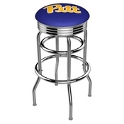 L7C3C - Chrome Double Ring Pitt Swivel Bar Stool with 2.5 Ribbed Accent Ring by Holland Bar Stool Company