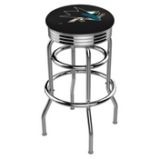 L7C3C - Chrome Double Ring San Jose Sharks Swivel Bar Stool with 2.5 Ribbed Accent Ring by Holland Bar Stool Company