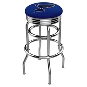 L7C3C - Chrome Double Ring St Louis Blues Swivel Bar Stool with 2.5 Ribbed Accent Ring by Holland Bar Stool Company