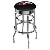 L7C3C - Chrome Double Ring Southern Illinois Swivel Bar Stool with 2.5 Ribbed Accent Ring by Holland Bar Stool Company