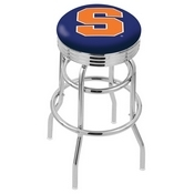 L7C3C - Chrome Double Ring Syracuse Swivel Bar Stool with 2.5 Ribbed Accent Ring by Holland Bar Stool Company