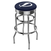 L7C3C - Chrome Double Ring Tampa Bay Lightning Swivel Bar Stool with 2.5 Ribbed Accent Ring by Holland Bar Stool Company