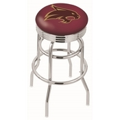 L7C3C - Chrome Double Ring Texas State Swivel Bar Stool with 2.5 Ribbed Accent Ring by Holland Bar Stool Company