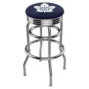 L7C3C - Chrome Double Ring Toronto Maple Leafs Swivel Bar Stool with 2.5 Ribbed Accent Ring by Holland Bar Stool Company