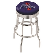 L7C3C - Chrome Double Ring Tulsa Swivel Bar Stool with 2.5 Ribbed Accent Ring by Holland Bar Stool Company