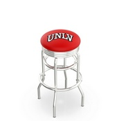 L7C3C - Chrome Double Ring UNLV Swivel Bar Stool with 2.5 Ribbed Accent Ring by Holland Bar Stool Company