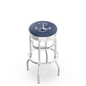 L7C3C - Chrome Double Ring US Naval Academy (NAVY) Swivel Bar Stool with 2.5 Ribbed Accent Ring by Holland Bar Stool Company