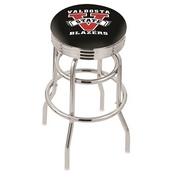 L7C3C - Chrome Double Ring Valdosta State Swivel Bar Stool with 2.5 Ribbed Accent Ring by Holland Bar Stool Company