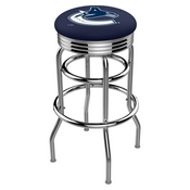 L7C3C - Chrome Double Ring Vancouver Canucks Swivel Bar Stool with 2.5 Ribbed Accent Ring by Holland Bar Stool Company