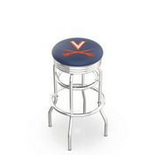 L7C3C - Chrome Double Ring Virginia Swivel Bar Stool with 2.5 Ribbed Accent Ring by Holland Bar Stool Company