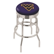 L7C3C - Chrome Double Ring West Virginia Swivel Bar Stool with 2.5 Ribbed Accent Ring by Holland Bar Stool Company