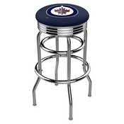 L7C3C - Chrome Double Ring Winnipeg Jets Swivel Bar Stool with 2.5 Ribbed Accent Ring by Holland Bar Stool Company