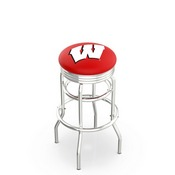 L7C3C - Chrome Double Ring Wisconsin W Swivel Bar Stool with 2.5 Ribbed Accent Ring by Holland Bar Stool Company