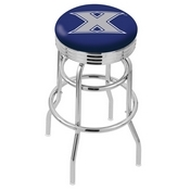L7C3C - Chrome Double Ring Xavier Swivel Bar Stool with 2.5 Ribbed Accent Ring by Holland Bar Stool Company