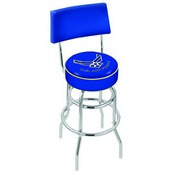 L7C4 - Chrome Double Ring U.S. Air Force Swivel Bar Stool with a Back by Holland Bar Stool Company
