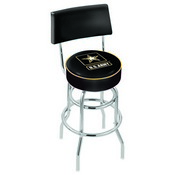L7C4 - Chrome Double Ring U.S. Army Swivel Bar Stool with a Back by Holland Bar Stool Company