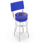 L7C4 - Chrome Double Ring Boise State Swivel Bar Stool with a Back by Holland Bar Stool Company