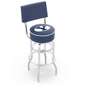 L7C4 - Chrome Double Ring Brigham Young Swivel Bar Stool with a Back by Holland Bar Stool Company
