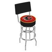 L7C4 - Chrome Double Ring Calgary Flames Swivel Bar Stool with a Back by Holland Bar Stool Company