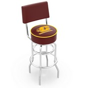 L7C4 - Chrome Double Ring Central Michigan Swivel Bar Stool with a Back by Holland Bar Stool Company