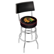 L7C4 - Chrome Double Ring Chicago Blackhawks Swivel Bar Stool with a Back by Holland Bar Stool Company