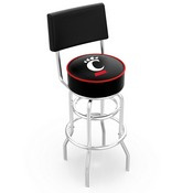 L7C4 - Chrome Double Ring Cincinnati Swivel Bar Stool with a Back by Holland Bar Stool Company