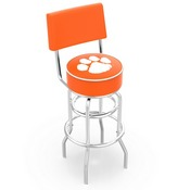 L7C4 - Chrome Double Ring Clemson Swivel Bar Stool with a Back by Holland Bar Stool Company