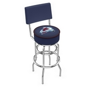 L7C4 - Chrome Double Ring Colorado Avalanche Swivel Bar Stool with a Back by Holland Bar Stool Company