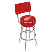 L7C4 - Chrome Double Ring Detroit Red Wings Swivel Bar Stool with a Back by Holland Bar Stool Company