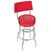 L7C4 - Chrome Double Ring University of Dayton Swivel Bar Stool with a Back by Holland Bar Stool Company