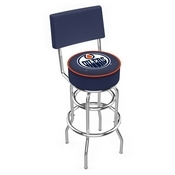 L7C4 - Chrome Double Ring Edmonton Oilers Swivel Bar Stool with a Back by Holland Bar Stool Company