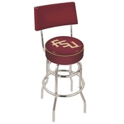 L7C4 - Chrome Double Ring Florida State (Script) Swivel Bar Stool with a Back by Holland Bar Stool Company