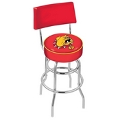 L7C4 - Chrome Double Ring Ferris State Swivel Bar Stool with a Back by Holland Bar Stool Company